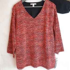 Macy's gorgeous fall color top vneck 2x nwt